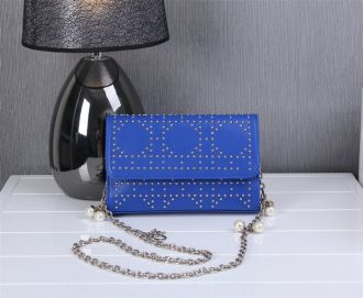 Dior Blue Leather Flap Silver Chain With Jewelry Strap Studded Shoulder Bag