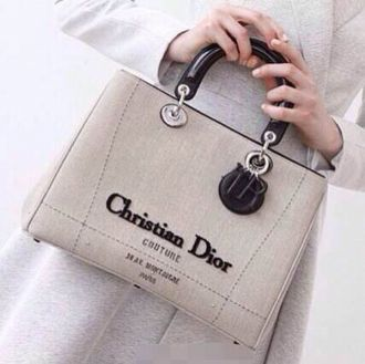 Christian Dior Women Lady Light Grey Canvas Default Tote Bag Black Leather Top Handle & Pendant