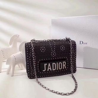 New Style 2018 Replica Dior J'ADIOR Black Calfskin Leather Studded Flower Motif Flap Closure Chain Shouder Bag Price M8000VLAE_M47R