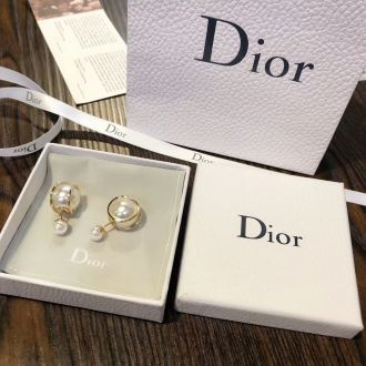 Christian Dior Elegant Tribales Pearl Gold-plated Ear-studs Replication Sale In UK For Women