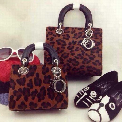 Top Sale Dior Lady Brown Sexy Leopard Print Lambskin Handbag Brown Smooth Leather Top Handle