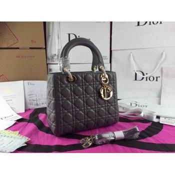 Grey Leather Dior Lady Cannage Quilted Tote Bag Golden D.I.O.R Charm Zipper Closure