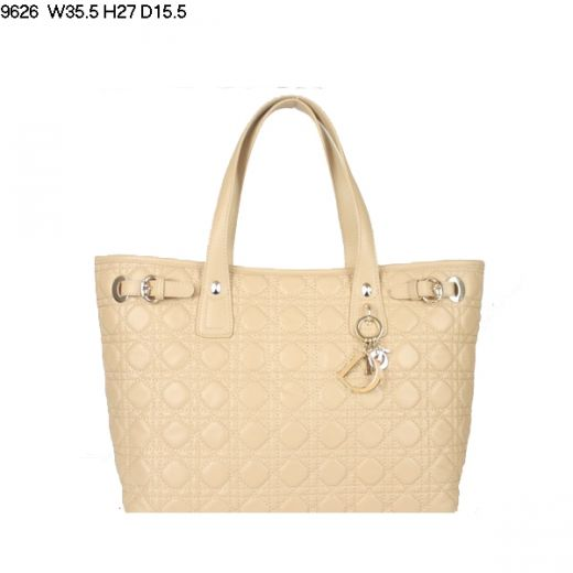 Luxury Dior Panarea Apricot Lambskin Leather Womens Cannage Faux Shoulder Bag Golden Hardware