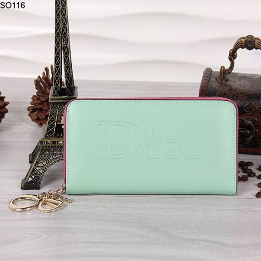 Cheapest Light Green Leather Dior Wallet Printed Dior Letter Face Golden Zipper