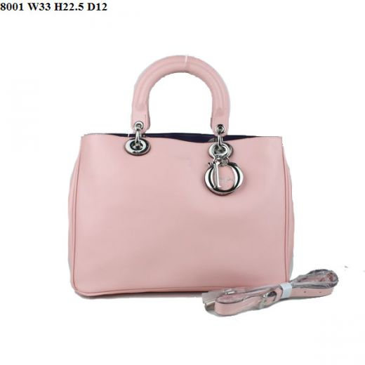 """Dior """"Diorissimo"""" Sweet Style Pink Small Nappa Leather Fake Totes Bag Silver Hardware Purple Lining"""
