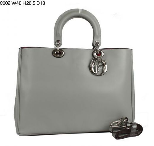 """Party Style Dior """"Diorissimo"""" Silver Hardware Nappa Leather Ladies  Totes Open Bag With Small Zipper Bag"""