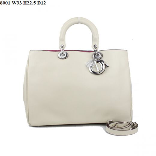 """High Quality  Dior """"Diorissimo"""" Small Beige Nappa Leather Tote Bag Rose Red Lining For Sale"""