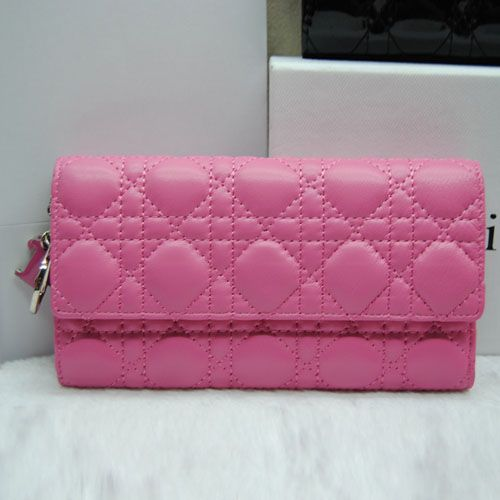 "Long Dior Pink Sheepskin Leather Cannage Tri-fold ""Lady Dior"" Flap Wallet D.I.O.R Charm Price USA"