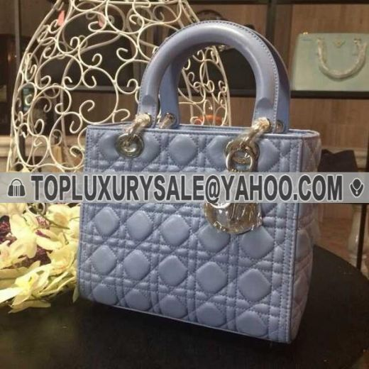 Dior Lady Lambskin Leather Cannage Quilted Handbag Top Handle Silver Low Price Light Purple