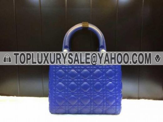 Fake High End Dior Lady Leather Cannage Tote Bag C D Logo Round Zip Puller Blue