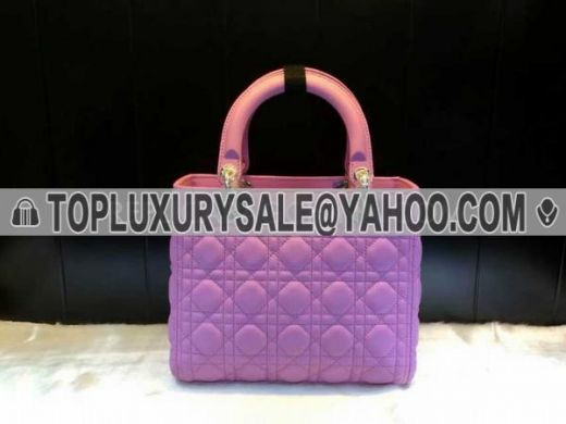 2017 Light Purple Dior Lady Replica Cannage Quilted Totes Bag Silver Hardware Calfskin Leather