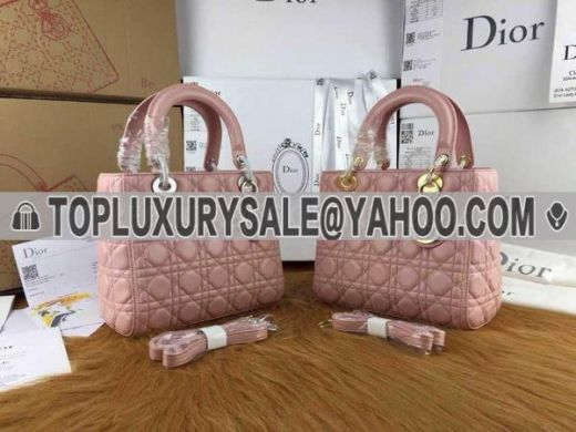 Replica Dior Default Cannage Quilted Leather Pink Totes Silver & Golden D.I.O.R Charm Medium