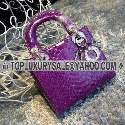 Elegant Style Dior Lady Purple Snakeskin Patent Leather Totes Diamonds Hardware Fake Crossbody Bag Online