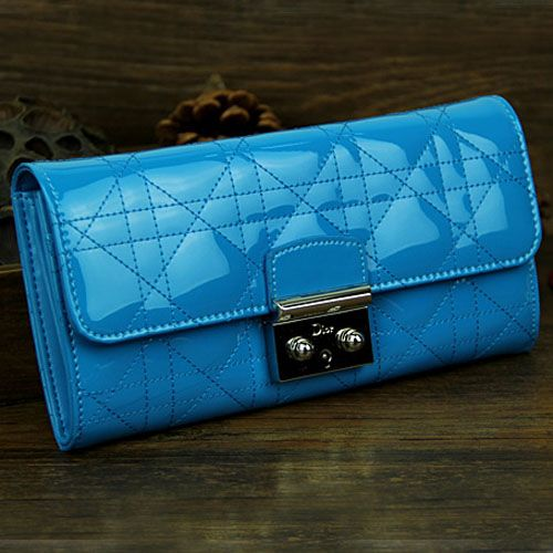 """Dior """"Lady Dior"""" Sky Blue Patent Leather Cannage Wallet Flap Closure With Silver Buckle"""