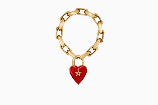 Stylish Replica Dior Dioramour Red Heart-shaped Pendent Lock Chain Bracelet Celebrity Style Reasonable Price B0628DMRLQ_D911