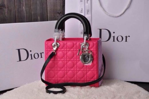 Imitation Popular Dior Tri-color Lady Calfskin Rose Red Tote Bag Black Top Handle & Strap