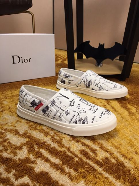 Men's Latest Style Dior Popular Graffiti Pattern Breathable Cotton Fabric Ultra Lightweight Fake Loafers Black/White