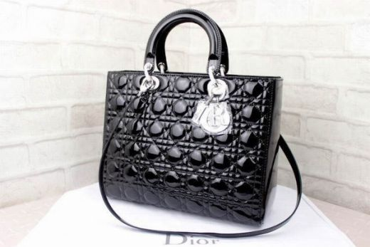 Large Dior Lady Silver Hardware Black Patent Leather Cannage Quilted Tote Bag Low Price CAL44561 N0