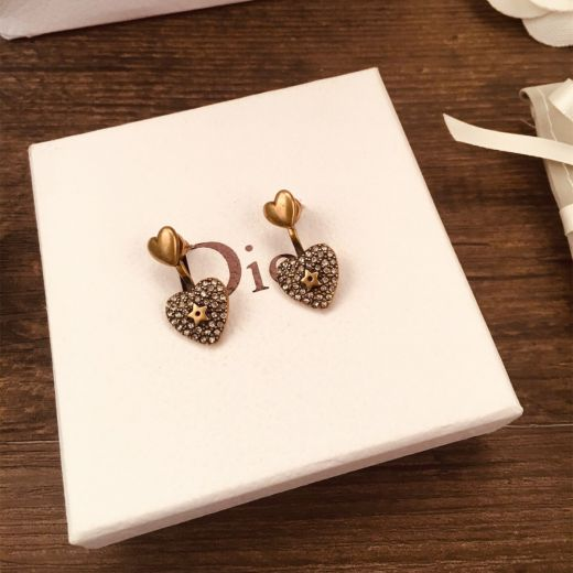 Replica Celebrity Same Christian Dior Embellished Aged Brass Paved Diamonds Heart Motif  Stud Earrings For Ladies