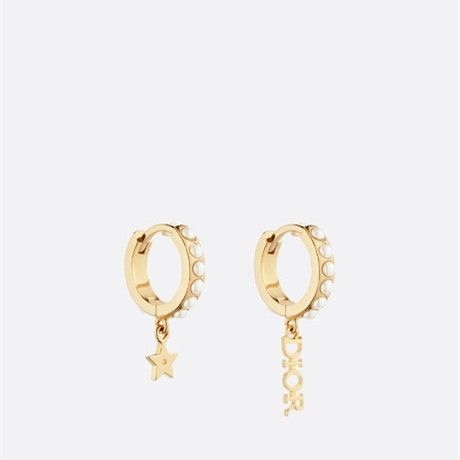 Women's Sweet Style Christian Dior Asymmetric Logo Star Pendant White Pearl Charm Classic Yellow Gold Plated Hoop Earrings