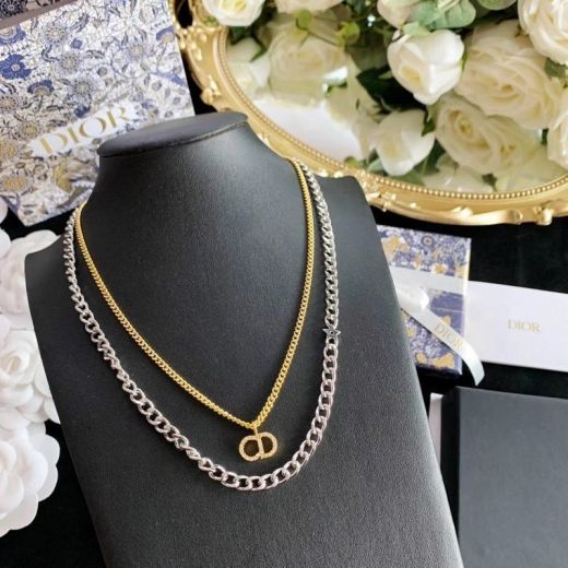 Celebrity Same Christian Dior Clair D Lune Double Chains Paved Diamonds CD Pendant Fashion Two-tone Necklace