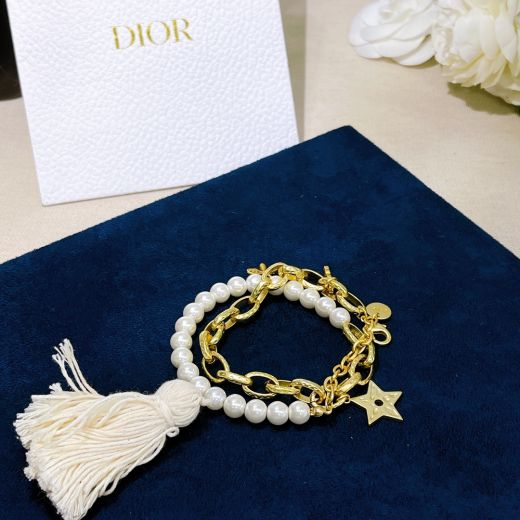 Low Price Christian Dior Bee Star Woolen Pendant White Pearl Yellow Gold Plated Chain Dual Purpose Jewellery Necklace Bracelet