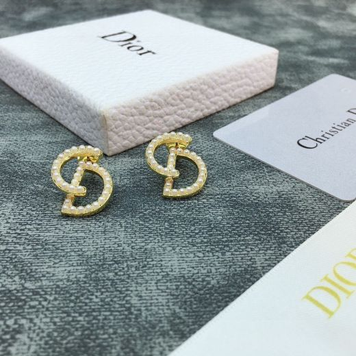 Women's Christian Dior Your Dior Classic CD Logo White Pearl Motif Yellow Gold Plated Stud Earrings Fashion Jewellery