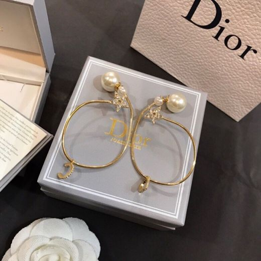 2021 New Style Christin Dior Diamonds Star Charm Logo Pendant White Pearl Yellow Gold Plated Circle Earrings For Girls