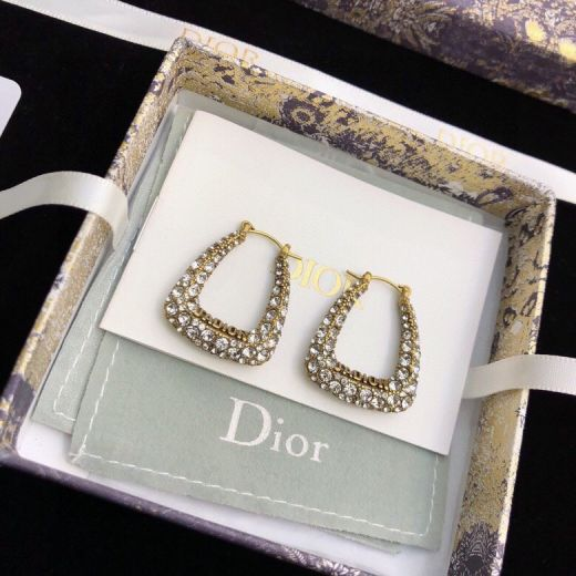 Dior J'ADIOR Paved White Crystal Pendant Logo Detail Females Aged Brass Hoop Earrings E1440ADRCY_D908 High End Fashion Jewellery