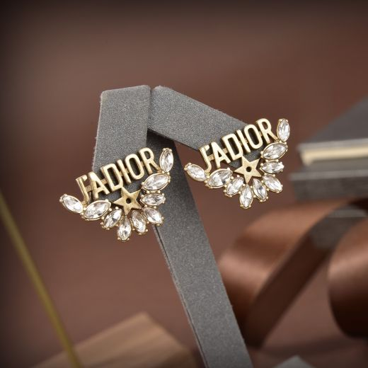 Best Christian Dior High End Dior J'ADIOR Water Droplets Crystals Star Detail Brass Motif  Faux Stud Earrings For Ladies