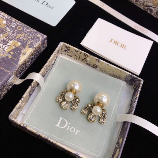 Christian Dior Antique Brass White Pearl Females Water Drop Diamond Earrings Fashion New Style Jewellery Online