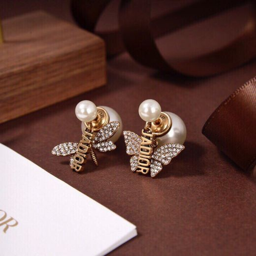 Most Luxury Christian Dior J'ADIOR Bee And Butterfly Asymmetric Pendants Females Brass Faux Paved Diamonds Drop Earrings