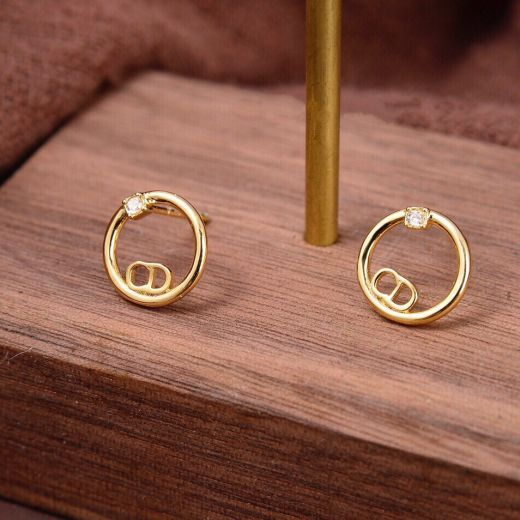 Women's Christian Dior Simple Style CD Logo Circle Pendant Single Crystal Yellow Gold Plated Faux Stud Earrings Fashion Jewellery