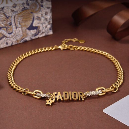 Hot Selling Christian Dior J'ADIOR  Classic Antique Brass Link Chain Paved Diamonds Circle Female Faux Necklace For Sale