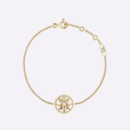 Christian Dior Rose Des Vents Best Site Eight-pointed Star Reversible Pendant Yellow Gold Plated Link Chain Female White MOP Bracelet