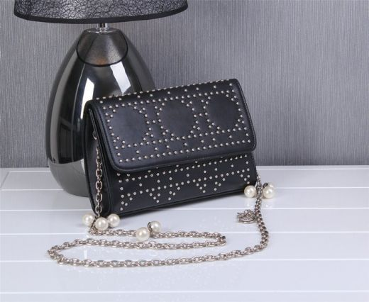 Christian Dior Satchel Black Leather Flap Studded Shoulder Bag Silver Chain Strap With Jewellery