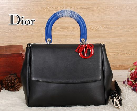 "Blue Top Handle Dior ""Be Dior"" Ladies Black Calfskin Tote Bag Red D.I.O.R Charm"