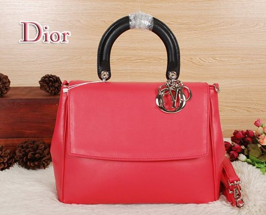 "Dior ""Be Dior"" Limited Edition Black Top Handle Silver Hardware Best Red Flap Crossbody Bag"