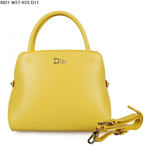 Dior Lemon Yellow Smooth Leather Top Handle Bag Middle Size Protective Base Studs In Paris