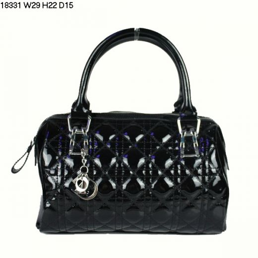 Dior Black Patent Leather Cannage Lady Dior Fake Boston Bag Silver Hardware For Travel