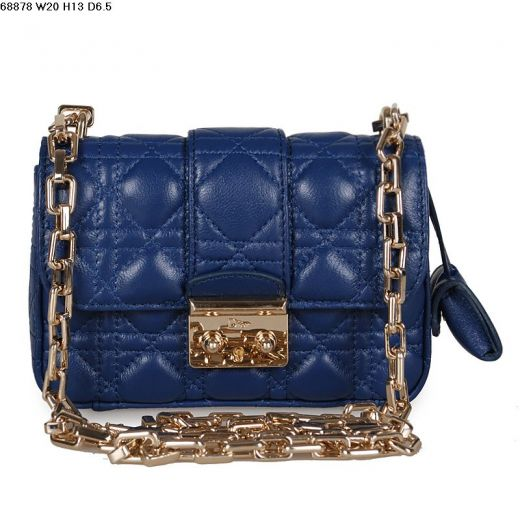 2017 New Miss Dior Navy Lambskin Flap Cannage Quilted Shoulder Bag Golden Hardware Chain Strap