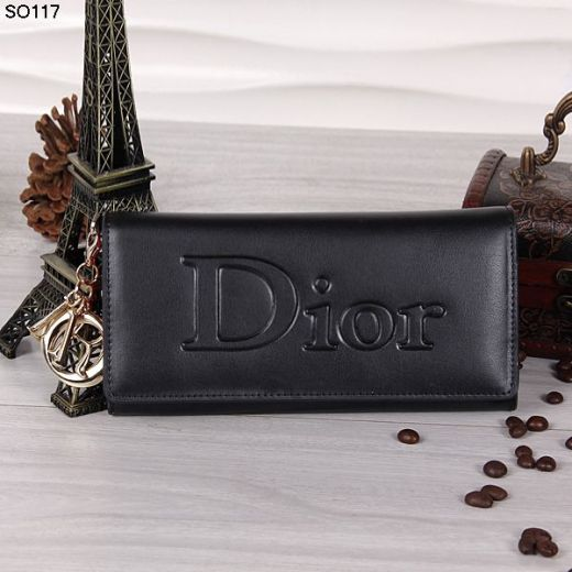 Christian Dior Champagne D.I.O.R Trim Black Leather Flap Ladies Wallet Rose Lining