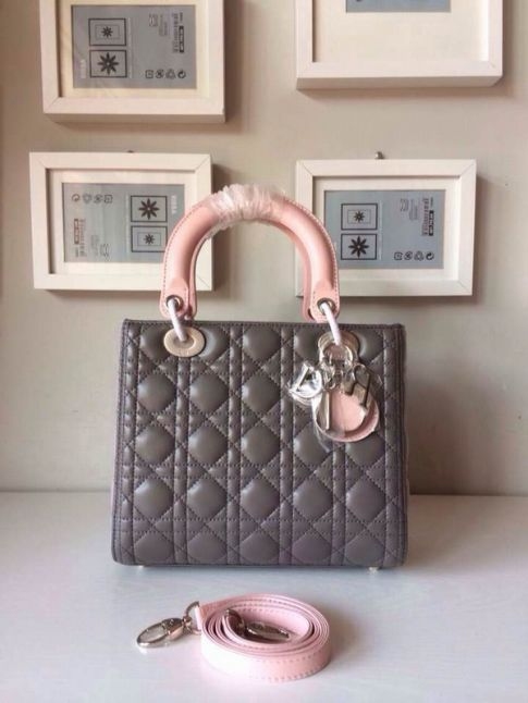 Replica Hot Selling Dior Lady Bi-Color Cannage Lambskin Tote Bag Pink Handle & Gusset Silver Hardware