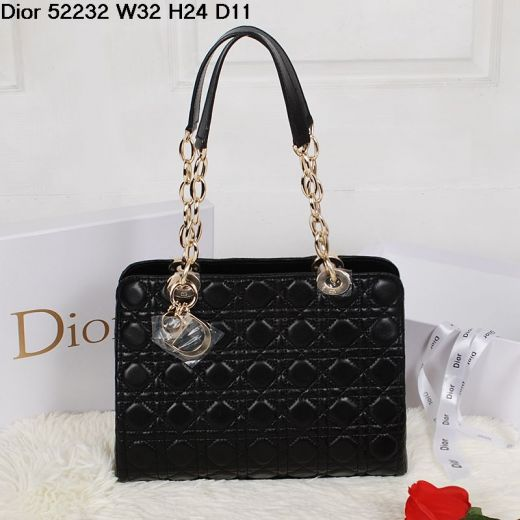 """Replica Dior """"Lady Dior"""" Zipped Cannage Quilted Shoulder Bag Black Lambskin Leather Golden Trimmings"""