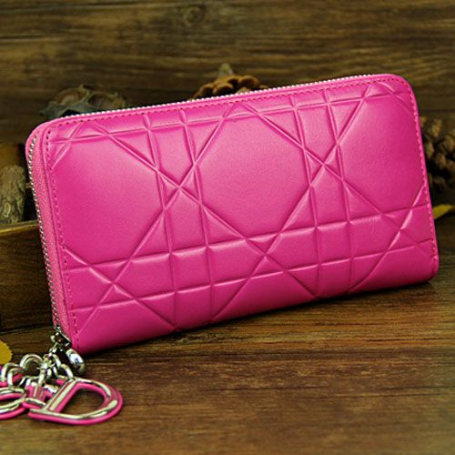 """Replica Rose Red High End Dior """"Lady Dior"""" Cannage Patent Leather Escapade Wallet Silver Zipper"""