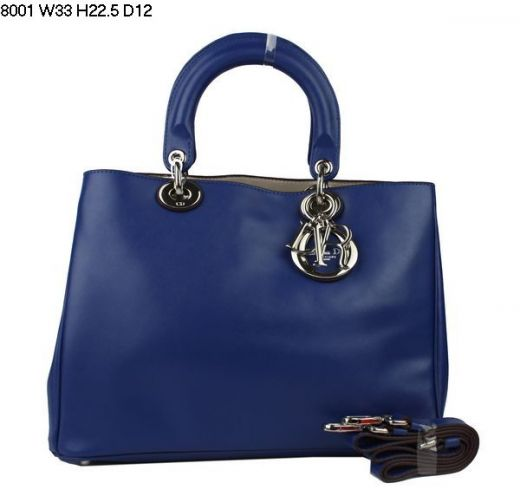 """Large Nappa Leather AAA Quality Dior """"Diorissimo"""" Ladies Tote Bag Adjustable Strap Sapphire Blue"""