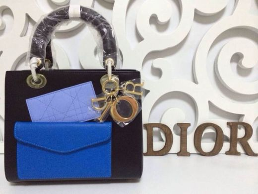 Dior Lady Tri-color Yellow Brass Hardware Leather Tote Bag Blue Front Pocket & Small Black Flap bag