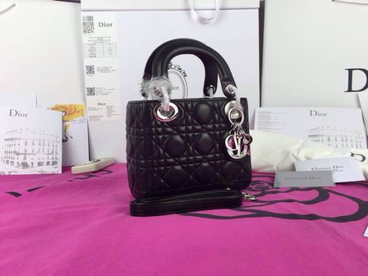 Timeless Mini Dior Lady CAL44501 N0 Silver Pendant Black Cannage Quilted Soft Leather Tote Bag