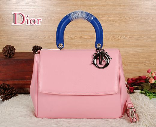 "Popular Dior ""Be Dior"" Pink Calfskin Leather Flap Tote Bag Blue Top Handle Silver Hardware"