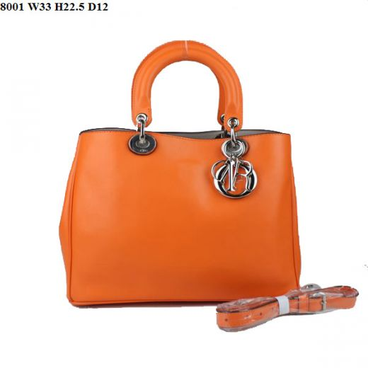 """High End Nappa Leather Ladies Dior """"Diorissimo"""" Small Orange Tote Bag For Sale Top Handle"""